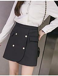 Damer Simple Afslappet/Hverdag Mini Nederdele A-linje Ensfarvet Sommer