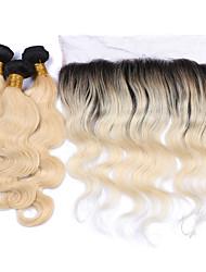 Недорогие -Бразильские волосы Естественные кудри Ткет человеческих волос 4 предмета 0.38