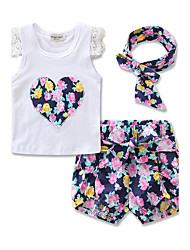 cheap -Girls' Daily Sports Formal Floral Clothing Set, Cotton Summer Short Sleeves Floral Bow Lace Green Purple