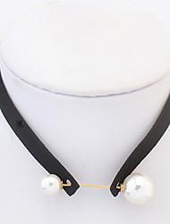 Femme Collier court /Ras-du-cou Col Médaillons Colliers Perle imitée Bijoux Imitation de perle Tissu Basique Stras Naturel Amitié USA