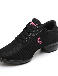 Women's Dance Shoes Fabric Dance Sneakers Sneakers Chunky Heel Practice Red Black White