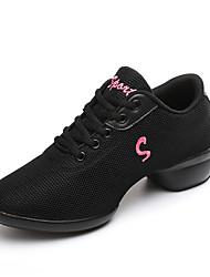 Scarpe da ballo-Non personalizzabile-Da donna-Sneakers da danza moderna-Quadrato-Tessuto-Bianco Nero Rosso