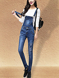 Women's Mid Rise Micro-elastic Jeans Overalls Pants,Simple Cute Straight Solid