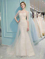 Mermaid / Trumpet Illusion Neckline Court Train Lace Tulle Wedding Dress with Beading Sequin Lace by QZ