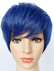 cheap -Cosplay Wigs Blue Short Anime Cosplay Wigs 24 CM Heat Resistant Fiber Female