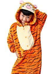Недорогие -Пижамы кигуруми Tiger Комбинезон-пижама Пижамы Костюм Фланель Флис Оранжевый Косплей Для Для детей Взрослые Нижнее и ночное белье животных