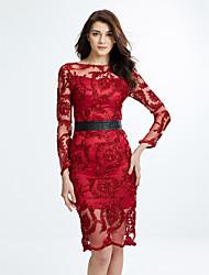 preiswerte -Damen Hülle Kleid-Lässig/Alltäglich Einfach Solide Rundhalsausschnitt Midi Langarm Rot Kunstseide Herbst Hohe Hüfthöhe Unelastisch Mittel