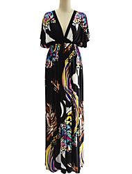 abordables -Femme Grandes Tailles Bohème Manche Chauve-souris Balançoire Robe - Dos Nu Imprimé Taille Haute V Profond Maxi
