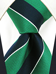 cheap -YXL27 Handmade Men's Neckties Green Blue Stripes 100% Silk Business New Casual Classic