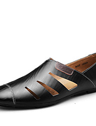 cheap -Men's Oxfords Spring Summer Moccasin Comfort Cowhide Office & Career Party & Evening Casual Flat Heel Blue Brown Black