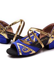 """Femme Latines Satin Sandale Basket Extérieur Talon Bottier Noir Argent Fuchsia Rouge Bleu 2 """"- 2 3/4"""""""