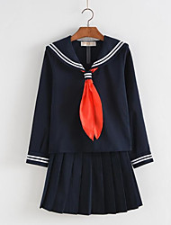 cheap -Student / School Uniform Cosplay Costume Female Halloween Carnival Children's Day Festival / Holiday Halloween Costumes Black Ink Blue