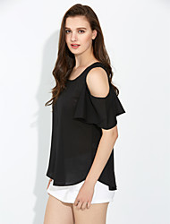 cheap -Women's Off The Shoulder Spring Fashion Sexy Strapless Round Neck ½ Length Sleeve Solid Color Chiffon Shirt Blouse Tops