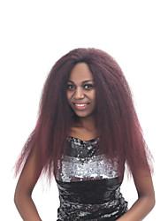 abordables -Perruque Lace Front Synthétique Kinky Curly Cheveux Synthétiques Ligne de Cheveux Naturelle Rouge / Noir / Marron Perruque Femme Long Dentelle frontale