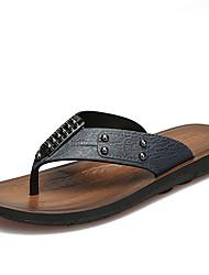economico -Da uomo Pantofole e infradito Comoda PU (Poliuretano) Primavera Estate Casual Perline Piatto Giallo Blu Marrone scuro Piatto