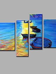 Ручная роспись Абстракция Любая форма,Modern 4 панели Холст Hang-роспись маслом For Украшение дома