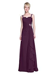 cheap -Sheath / Column Straps Floor Length Chiffon Bridesmaid Dress with Beading Ruffles Criss Cross Ruching by LAN TING BRIDE®