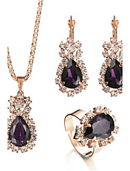 cheap -Women's Crystal Jewelry Set - Drop Luxury, Fashion, Elegant Include Ring / Necklace / Earrings / Bridal Jewelry Sets Purple / Red / Green For Christmas Gifts / Wedding / Party / Special Occasion