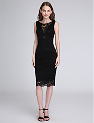 Sheath / Column Jewel Neck Knee Length Lace Bridesmaid Dress with Lace by LAN TING BRIDE®
