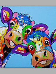 Modern  Hand-Painted Abstract Animal The Lovely Cow One Panels Canvas  Oil Painting  For Home Decoration