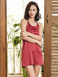 Недорогие -Женский Пижамы,Однотонный Средняя Другое Белый Черный Красный Розовый