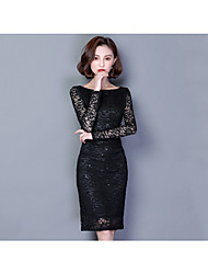 cheap -Women's A Line / Sheath Dress - Solid Colored Lace Boat Neck / Spring / Summer
