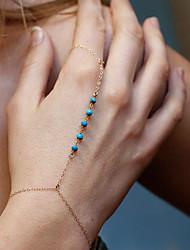 Mujer Cadenas y esclavas Brazaletes Anillo Joyas estilo de Bohemia Hecho a mano Turquesa Legierung Forma de Círculo Dorado Plata Joyas