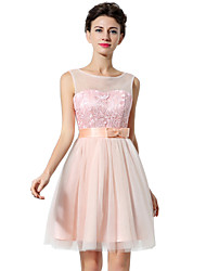 A-Line Fit & Flare Illusion Neckline Short / Mini Tulle Cocktail Party Dress with Bow(s) Pattern / Print by Sarahbridal