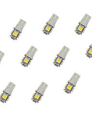 10pcs t10 5 * 5050 smd conduit voiture ampoule lumière chaude dc12v