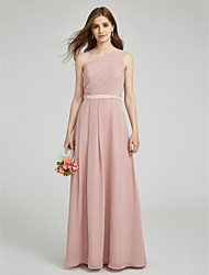 Sheath / Column One Shoulder Floor Length Chiffon Bridesmaid Dress with Sash / Ribbon Pleats by LAN TING BRIDE®