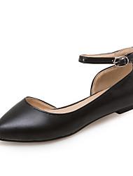 Women's Flats Comfort Light Soles Leatherette Spring Summer Outdoor Office & Career Dress Comfort Light Soles Buckle Flat HeelWhite Black