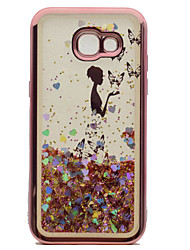cheap -For Samsung Galaxy A3(2017) A5(2017) Case Cover Plating Flowing Liquid Pattern Back Cover Case Sexy Lady Glitter Shine Soft TPU