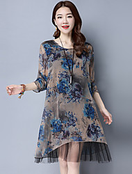 Women's Casual/Daily Vintage Tunic Dress,Floral Round Neck Knee-length Long Sleeve Others Spring Mid Rise Inelastic Thin