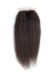 Недорогие -Естественные прямые Классика 4x4 Закрытие Швейцарское кружево Натуральные волосы Бесплатный Часть Средняя часть 3 Часть Высокое качество
