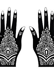 1Pair Fashion Tattoo Beauty Beautiful Totem Design Nail Art Left&Right Hand Tattoo Stickers Hollow Hand Template Tattoo Art Decoration S109