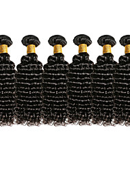 cheap -Top Grade 6Pcs/Lot 8-26inch Brazilian Virgin Deep Wavy Hair Natural Black Curly Human Hair Weaves Hot Sale.