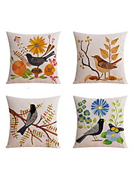 cheap -4 pcs Linen Sofa Cushion Travel Pillow Body Pillow Bed Pillow Pillow Case, Floral Graphic Prints Still Life Animal Casual Outdoor