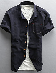 Men's Casual/Daily Simple Summer Shirt,Solid Shirt Collar Short Sleeves Linen Thin