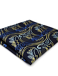 cheap -CH15 Unique Men's Pocket Square Handkerchiefs Blue Yellow Multicolor Paisley 100% Silk Fashion Dress Casual Classic