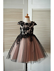 cheap -A-Line Knee Length Flower Girl Dress - Lace Tulle Short Sleeves Jewel Neck with Beading by LAN TING BRIDE®
