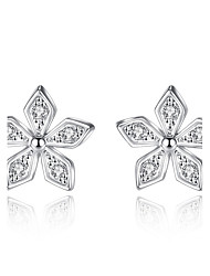 cheap -Women's Stud Earrings AAA Cubic Zirconia Floral Sterling Silver Jewelry Wedding Party Daily Casual Costume Jewelry