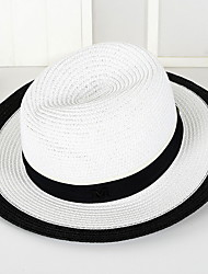 cheap -British Summer Straw Hat Cap Patchwork Round Wide Brim Hawaii Folding Soft Sun Hat Casual Foldable Brimmed Beach Hats For Women