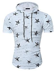 cheap -Men's Cotton T-shirt Print Hooded