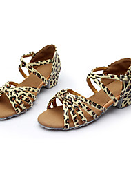 cheap -Women's Dance Shoes Leatherette Latin Flats Heel Indoor Leopard Customizable