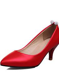 cheap -Women's Heels Spring Summer Formal Shoes Leatherette Wedding Party & Evening Dress Chunky Heel Kitten Heel RhinestoneBlushing Pink Red