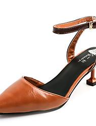 abordables -Femme Chaussures Polyuréthane Eté Confort Sandales Marche Block Heel Bout ouvert Boucle Ruban pour De plein air Beige Brun Foncé