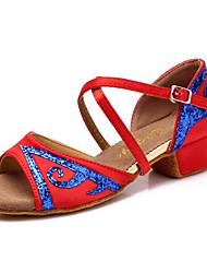 cheap -Latin Kid's Dance Shoes Sandals Satin Low Heel (More Colors)