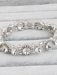 cheap -Women's Tennis Bracelet Crystal Movie Jewelry Crystal Circle Silver Jewelry For Wedding 1 Set