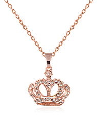 cheap -Women's Crown Personalized Fashion Euramerican Pendant Necklace Rhinestone Alloy Pendant Necklace , Wedding Party Special Occasion