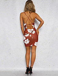 cheap -Women's Party Holiday Club Vintage Sexy Street chic Bodycon Sheath Dress,Floral Strap Above Knee Sleeveless Polyester Summer High Rise